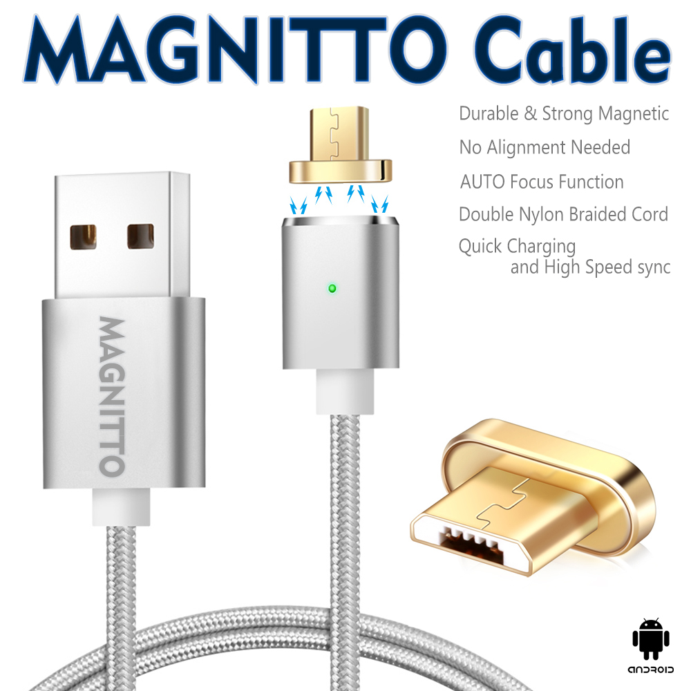 Nylon Braided Detachable Magnetic With Micro Usb Adapter