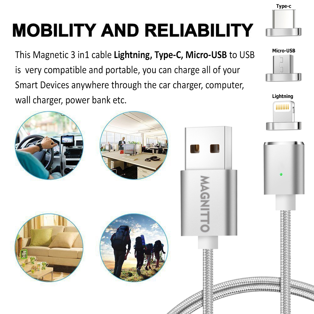 3 In 1 Multiple Magnetic Cable Usb Type C Micro